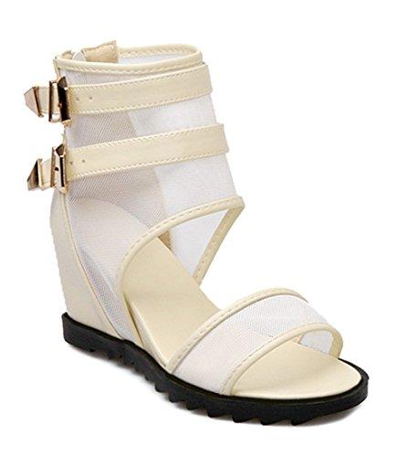 YE Frauen Offene Peep Toe Plateau Keilabsatz Mesh Height Increasing Summer Sommer Sandalen Schuhe mit Schnalle Ankle Boots Weiß