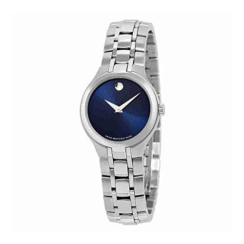 Movado azul Dial Acero inoxidable Acero Damas Reloj 0606370