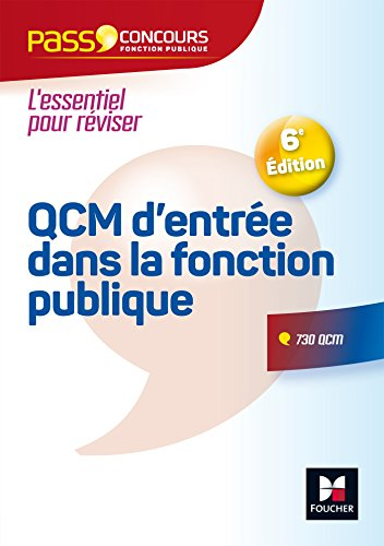 Pass'Concours - QCM d'entrée dans la fonction publique 6e édition par François Chevalier