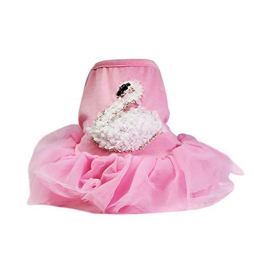 YWLINK Mode Haustier Mesh Patchwork Kleid 3D Schwan Drucken Hochzeit Party Haustier Hund Kleidung(Rosa,L)