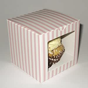 10 Single Cupcake Striped Boxes Pink,Blue Square Window or Plain (Pink Stripe Window)