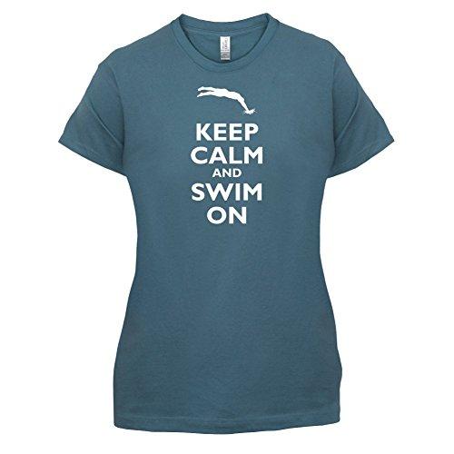 Keep Calm and Swim On - Damen T-Shirt - 14 Farben Indigoblau