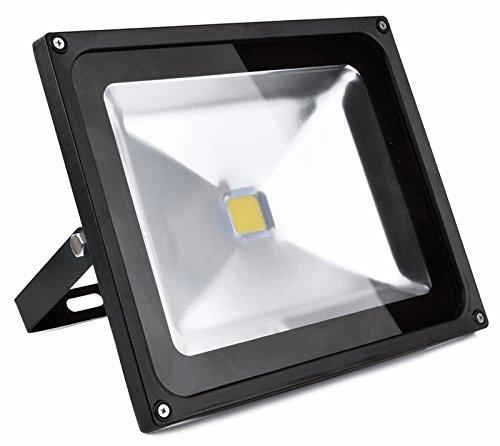 Auralum® Modern 10 Jahren Garantie 50w LED Fluter Außenstrahler 4500Lumen 230V IP65 6000K Weiß mit Schwarz Rahmen