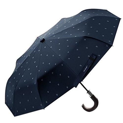 XLORDX Luxus Business Herren Regenschirm Taschenschirm mit automatischem Knopf, 10 verstärkten Rippen, winddicht, leicht & kompakt,mit Hirsch Kopf, Blau