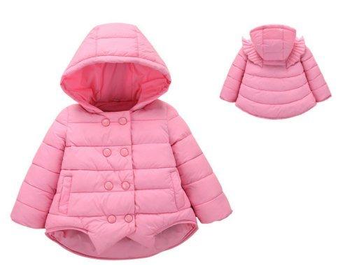 Ohmais Unisex Jungen Mädchen Winter Down Jacket verdickte Winterjacke Jungen Mantel verdickte Trenchcoat Jungen Outerwear mit Kapuzen Pink
