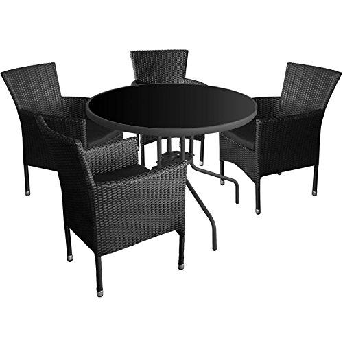 5tlg. Gartenmöbel Set Glastisch Ø90cm +4x Polyrattan Gartenstuhl Stapelstuhl Gartengarnitur Sitzgruppe Sitzgarnitur