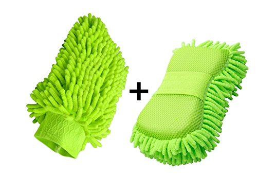 Happyit 2 PCS Microfibra Chenille Wash Mitt guante de lavado de coches limpieza Lavado Mitt Microfiber esponja de tela coche lavadora