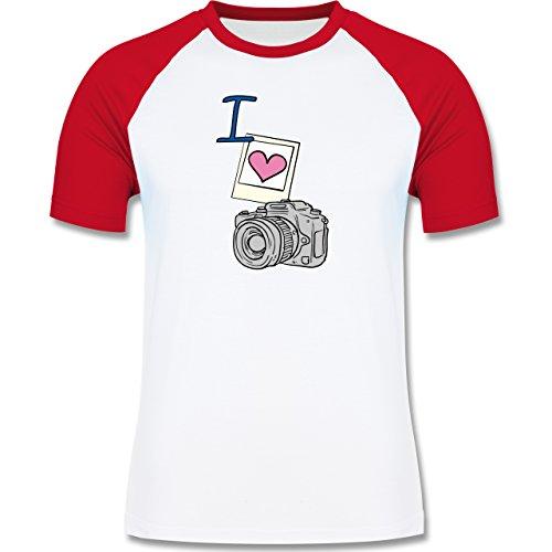 I love - I love photography - zweifarbiges Baseballshirt für Männer Weiß/Rot