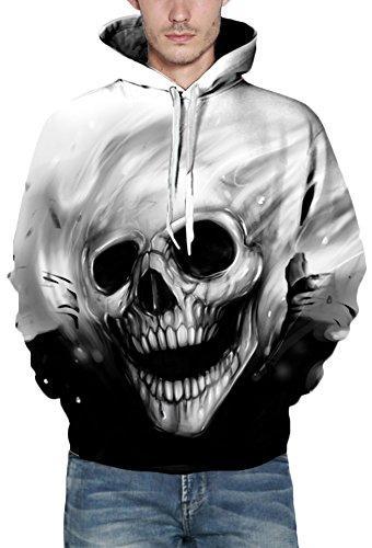EmilyLe Herren 3D Druck Kapuzenpullover Tier Kosmos Cartoon Sweatshirt Weihnachten Langarm Top Herbst Spaß Hoodie Skelett
