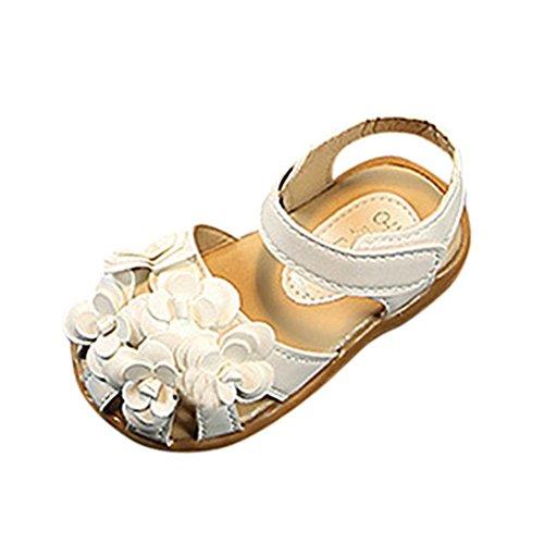 Smrbeauty sandali per bambina, sandali punta aperta bambina, ragazze floreale scarpe eleganti cuoio singolo bellissime piatto bimba partito scarpe principessa scarpe (21, bianco)