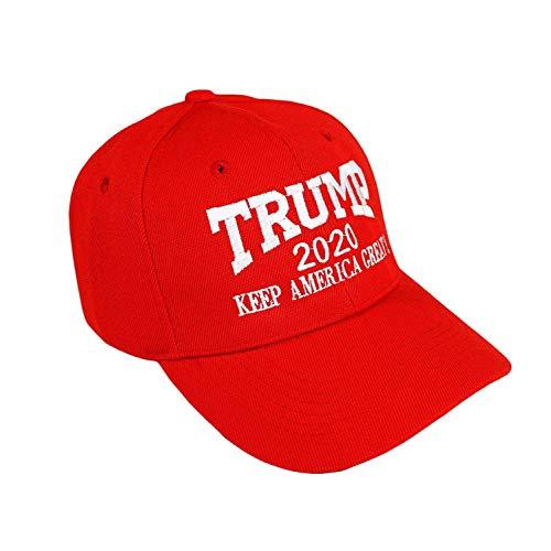 WOVELOT 1 Stück Trump 2020 Halten Amerika Gro?e Stickerei Kampagne Hut Usa Baseball Mütze Rot