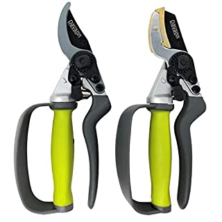 Davaon Pro Bypass & Anvil Secateurs Set in Box - 30% Less Effort Rotating Handle Garden Hand Pruners, Finger Protection, Long Lasting - Sharp Heavy Duty Pruning Gardening Tool. Experience Them Now!
