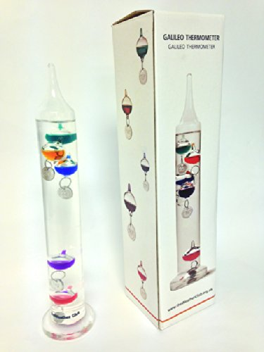 11 Galileo-thermometer (Anablep Galileo Thermometer, mit 5 Messkugeln, 28 cm)
