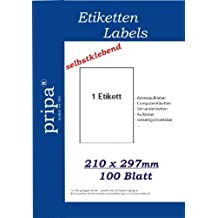 pripa 100 Etiketten A4 - 210 x 297 vollflächig selbstklebend weiß - allround Qualität