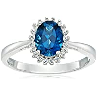 Sterling Silver London Blue Topaz and Created White Sapphire Classic Princess Di Halo Ring, Size 7