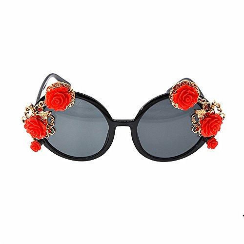 Yiph-Sunglass Sonnenbrillen Mode Damen Sonnenbrillen Klassische Eleganz Rote Rose für Frauen Retro Runde Gold Beach Show Style Sonnenbrillen