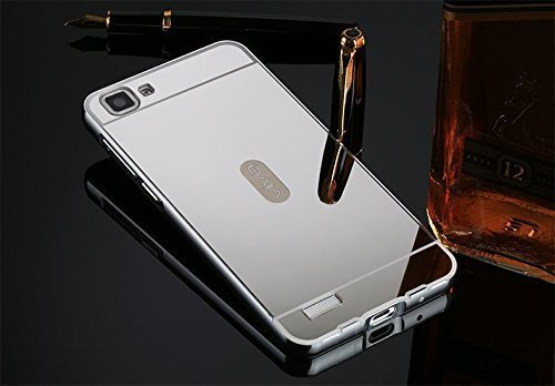 SDO™ Acrylic Mirror Back Cover Case with Bumper Frame Case for Vivo V1 (Silver)