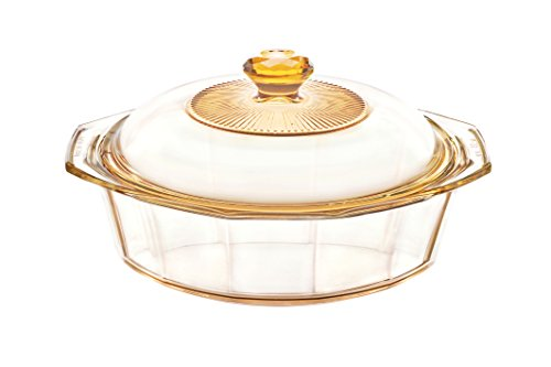 Visions 1.5 Litre Pyroceram Diamond Casserole with Glass Cover, Brown