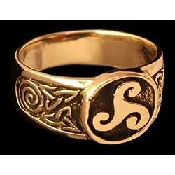 Battle Merchant Triskel Sello Ring Ring de Bronce verzierter Vikingo Anillo Anillo de Bronce Larp Vikingo Medieval Diferentes tamaños, Color marrón, tamaño 50