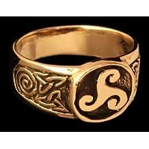 Triskel sello ring ring de bronce verzierter Vikingo Anillo Anillo de bronce LARP Vikingo Medieval diferentes tamaños, color marrón, tamaño 20/62