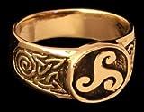 Triskel Siegelring Ring aus Bronze verzierter Wikingerring Bronzering LARP Wikinger Mittelalter verschiedene Größen (21/66)