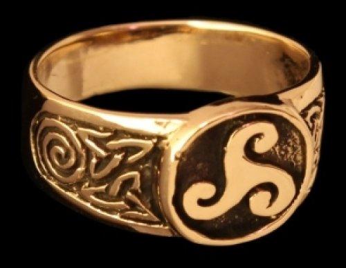 Triskel Siegelring Ring aus Bronze verzierter Wikingerring Bronzering LARP Wikinger Mittelalter verschiedene Größen (20/62) - Bronze Ring