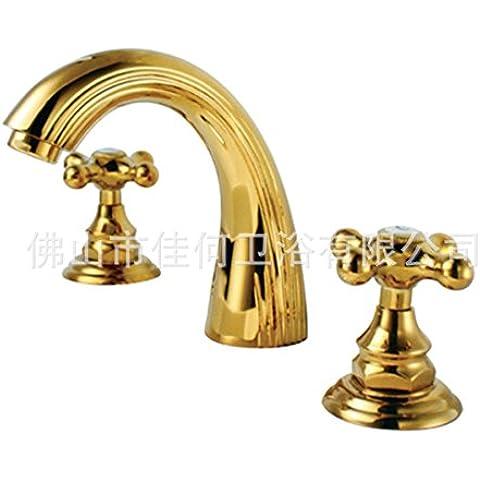 BTJC Monomando de lavabo de lat¨®n chapado en oro europeo para lavabo a tres orificios grifo lavado conjunto de