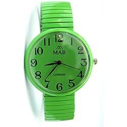 Mab London Unisex Big Light Green Expandable Strap Watch 12month guarantee!