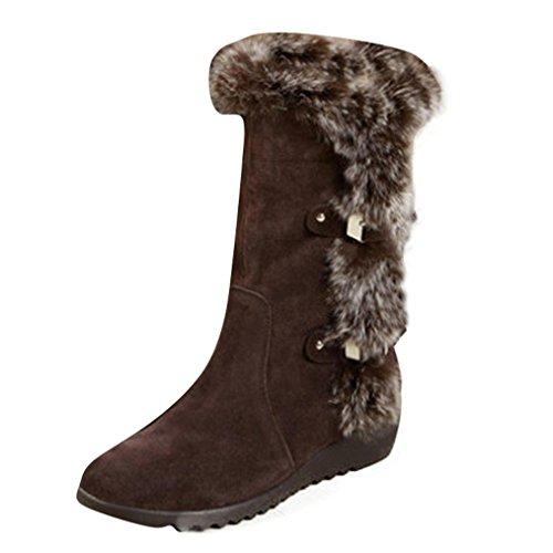 VJGOAL Damen Stiefel, Frauen Mädchen Mode Schnallen Dicke Plüsch Mitte Kalb Stiefel Warme Winter Schwarze Schuhe, 4CM (34 EU, Braun)