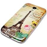 deinPhone Samsung Galaxy S4 HARDCASE Hülle Case Eiffelturm Rosa Blume