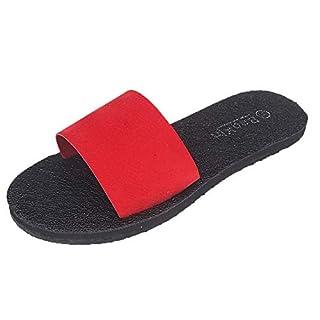 Anglewolf Celebrity Style Ladies Womens Flip Flop Sliders Plain Slippers Mules Women Summer Flat Sandals Indoor/Outdoor(Red,5.5 UK)