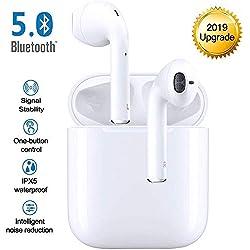 Écouteurs Bluetooth Oreillette Bluetooth sans Fil in Ear Headset Wireless Sport Earbuds Bluetooth Headphones IPX7 Étanche 24 Heures Playtime avec Micro Boîtier de Charge pour iPhone Samsung Huawei