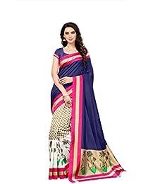 Fabwomen Sarees Floral Print Multicolor And Blue Coloured Bhagalpuri Art Silk Traditional Casualwear Women's Saree...