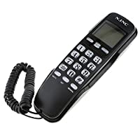 D DOLITY Landline Corded Phone Home Wall Extension Telephone Redial Caller ID Black