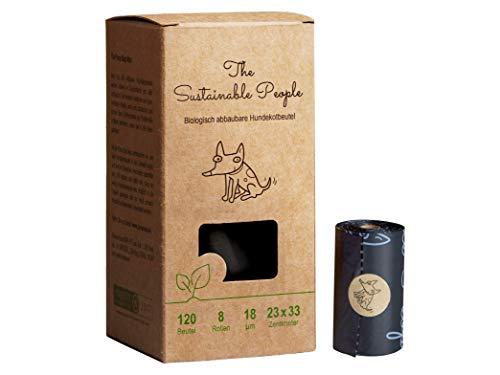 TSP Bio-abbaubare Hundekotbeutel Premium - OK compost HOME zertifiziert - 100% heim-kompostierbar und biologisch abbaubar (kein OXO!) - Gross & Extra Dick (18µm) (8 Rollen (120 Beutel) -