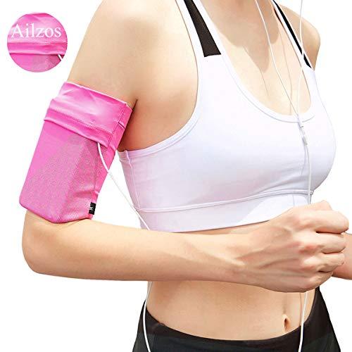 Ailzos Sportarmband,Leichter Armband Strap Holder Pouch Comfortable Phone Armband Sleeve für Joggen und Fitness geeignet für iPhone X/8/7 Plus/7/6,Samsung Galaxy S9/S8/S7,Sony,LG HTC,(Pink,L) -