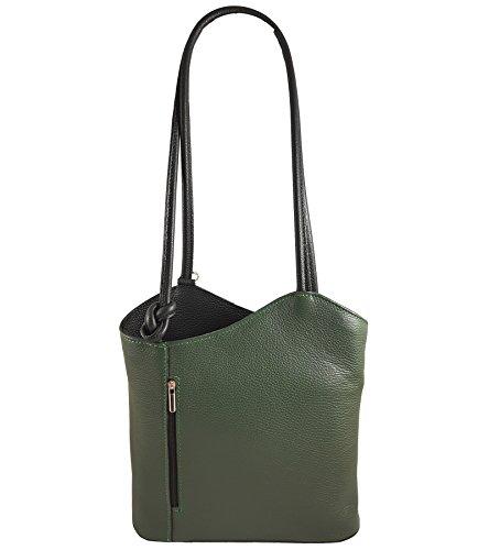 2 in 1 Handtasche Rucksack Designer Luxus Henkeltasche aus Echtleder in versch. Designs (Glattleder Grün-Schwarz) (Grüne Designer-tasche Wildleder)