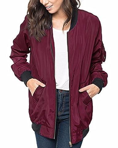 ZANZEA Women Classic Autumn Loose Casual Stand Collar Zip Up Pocket Biker Bomber Jacket Coat Wine Red