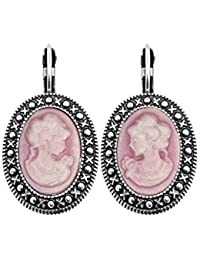 Pendientes Dormeuse camafeo rosa plata 925/1000