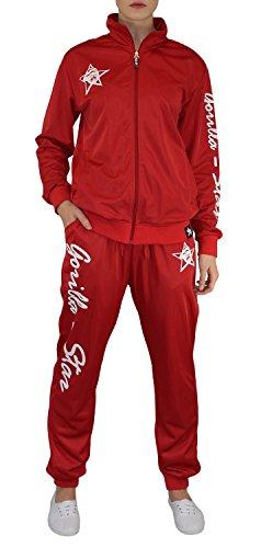 Gorilla-Star toller Damen Glanz-Trainingsanzug Jogginganzug Freizeit-Anzug in super Farben Größe S - 4XL (XXXXL) (L, Rot)