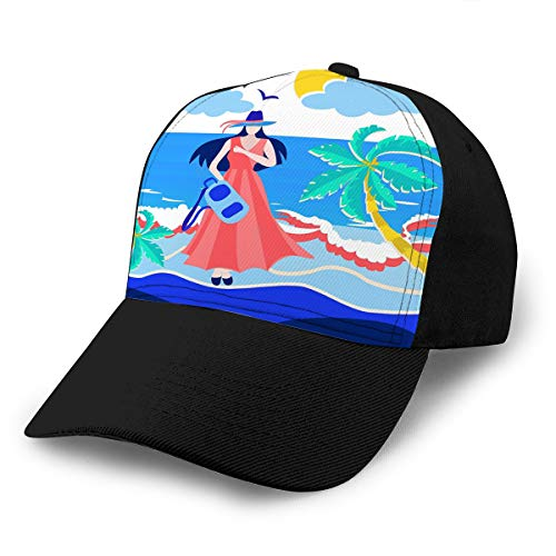 Kostüm Girl Trucker - Unisex Summer Fashion Cotton Baseball Cap Adjustable Trucker Hats Girl Holding Backpack Beach sea Sun Character Design Vacation Concept Colorful