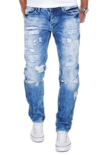 Merish Jeans Destroyed Herren Hose Denim Clubwear Streetstyle Usedlook Patched J2007 Blau 32/32