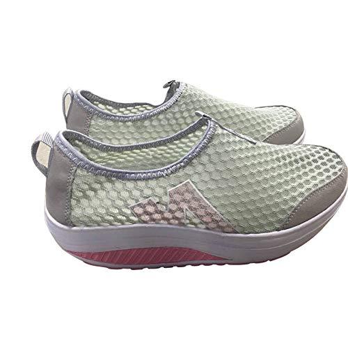 Yvelands Damen Mode Plattform Schuhe Frauen Müßiggänger Atmungsaktive Air Mesh Swing Wedges Schuh(Grau,39)