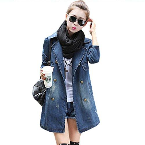 Women Denim Jacket Fashion Lapel Double Breasted Long Coats Outwear Jean  Jacket Plus Size (L)