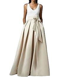 Wedding Lady - Vestido largo para boda, Satén, cintura alta, con lazo