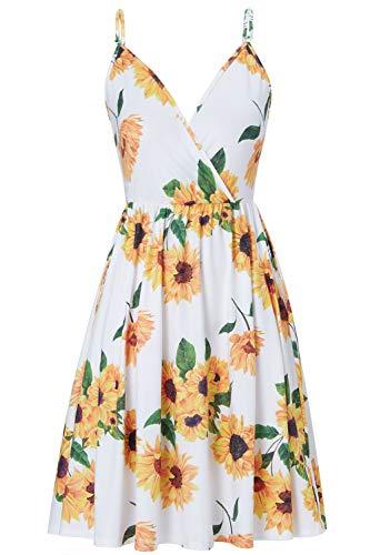 Damen Blumen Kleid Ärmelloses Strandkleid Sexy V-Ausschnitt Rückenfreies Trägerkleid Blumenmuster A-Linie Swing Kleid Sommerkleider Gänseblümchen Midikleid L