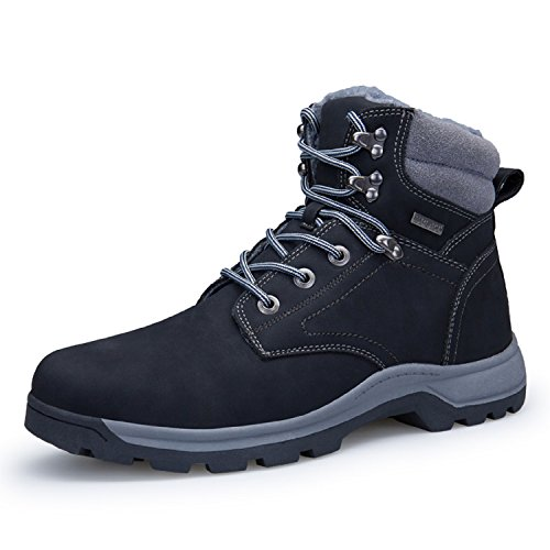 Rioneo Herren Wanderschuhe Wasserdicht Schneestiefel Outdoor Stiefel Trekking Hiking Fur Gefüttert Schuhe Schwarz 44