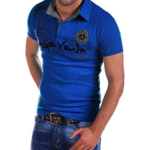 (Xmiral Shirt Tops Herren Brief Drucken Button Kurzarm Umlegekragen Polyester T-Shirt Oberteile V-Ausschnitt S-2XL(XL,Blau))