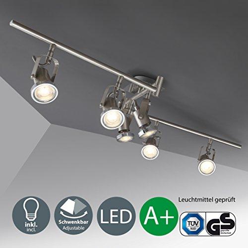 LED Deckenleuchte I schwenkbare Decken-Lampe I inkl. 6 x 5 W Leuchtmittel | bewegliche Spots I Wohnzimmerlampe I 6 Spotlights I Metall I matt nickel I 230V