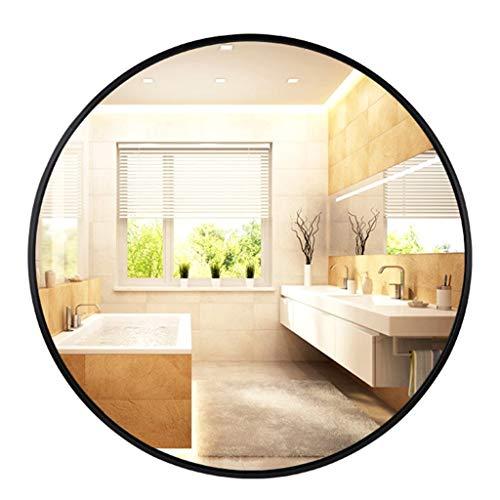 JJHOME-Spiegel Moderner schwarzer runder Wandspiegel, Rahmen aus eloxierter Aluminiumlegierung (Durchmesser 40-80 cm)